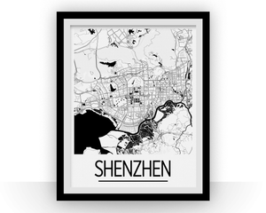 Shenzhen Map Poster - china Map Print - Art Deco Series