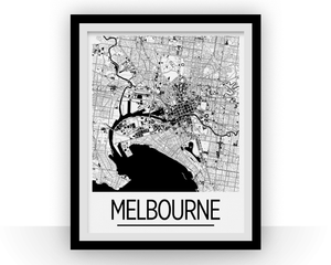 Melbourne Map Poster - australia Map Print - Art Deco Series