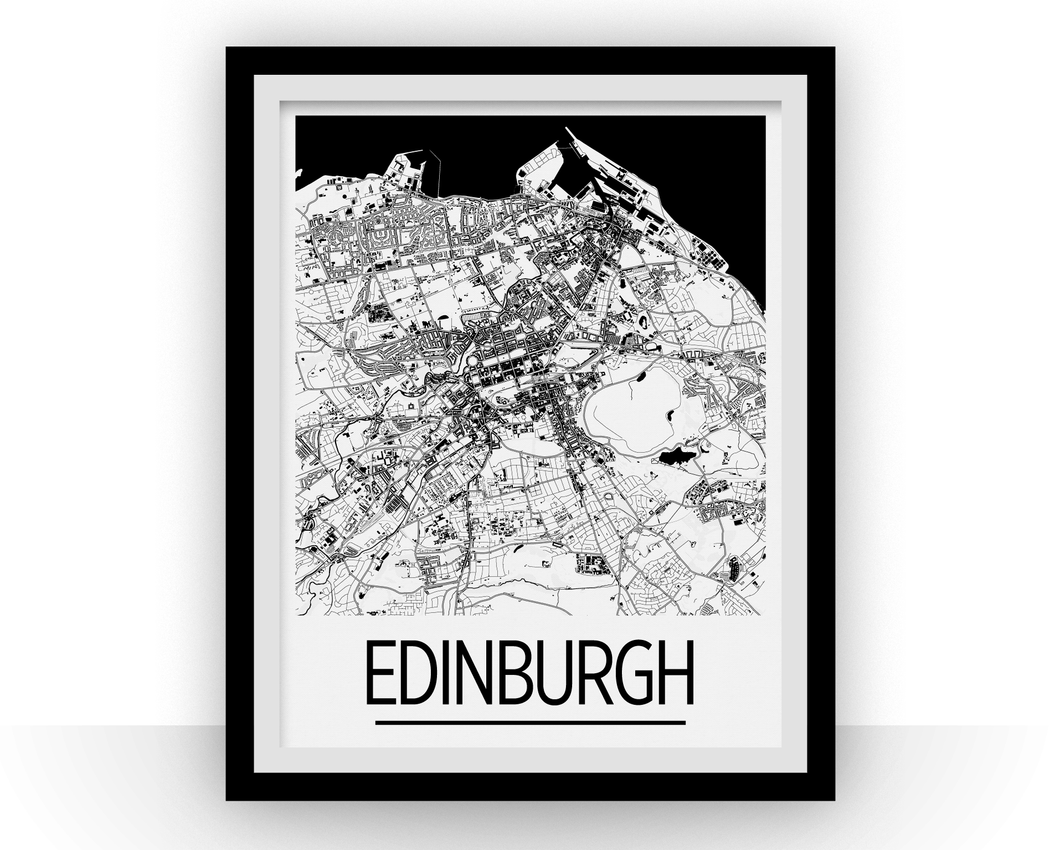 Edinburgh Map Poster - uk Map Print - Art Deco Series