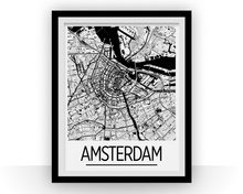 Amsterdam Map Poster - netherland Map Print - Art Deco Series