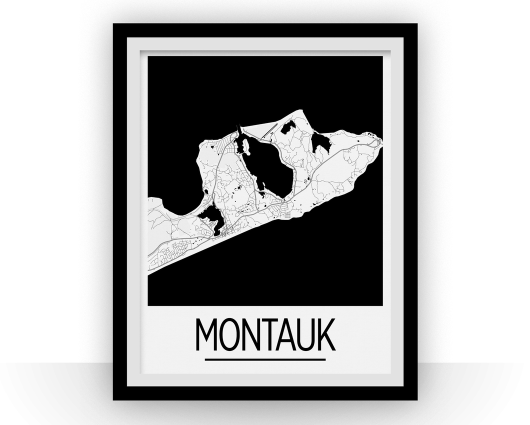 Montauk Map Poster - New York Map Print - Art Deco Series