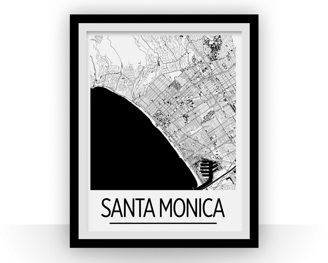 Santa Monica Map Poster - California Map Print - Art Deco Series