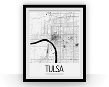 Tulsa Map Poster - usa Map Print - Art Deco Series
