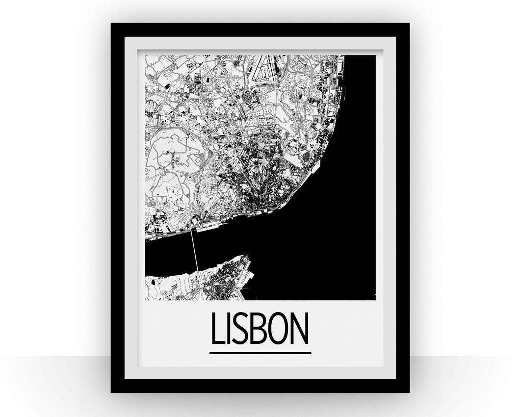 Lisbon Map Poster - Portugal Map Print - Art Deco Series