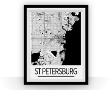 St Petersburg Map Poster - usa Map Print - Art Deco Series