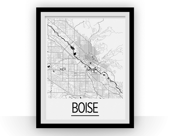 Boise Map Poster - usa Map Print - Art Deco Series