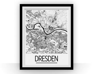 Dresden Map Poster - germany Map Print - Art Deco Series