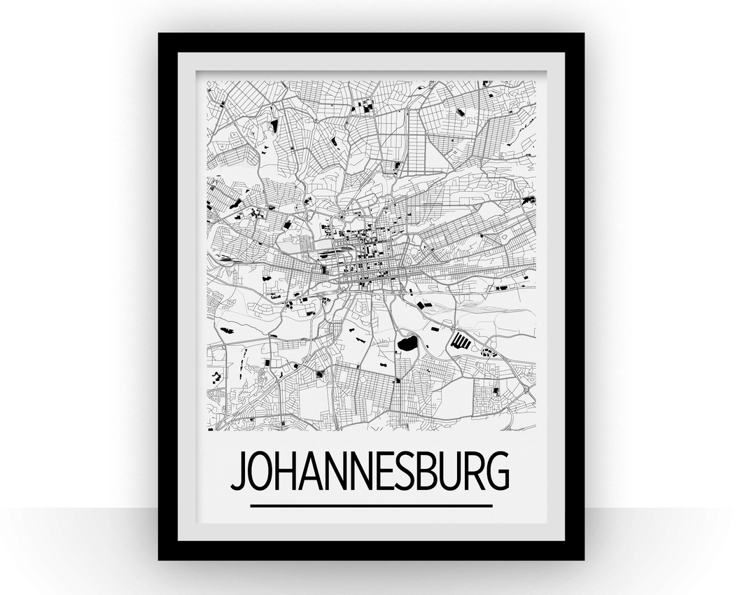 Johannesburg Map Poster - south africa Map Print - Art Deco Series