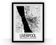 Liverpool Map Poster - uk Map Print - Art Deco Series