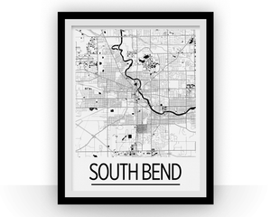 South Bend Map Poster - usa Map Print - Art Deco Series
