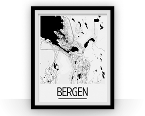 Bergen Map Poster - norway Map Print - Art Deco Series