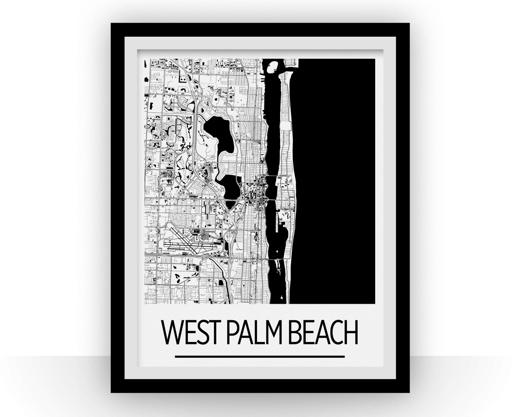 West Palm Beach Map Poster - Florida Map Print - Art Deco Series