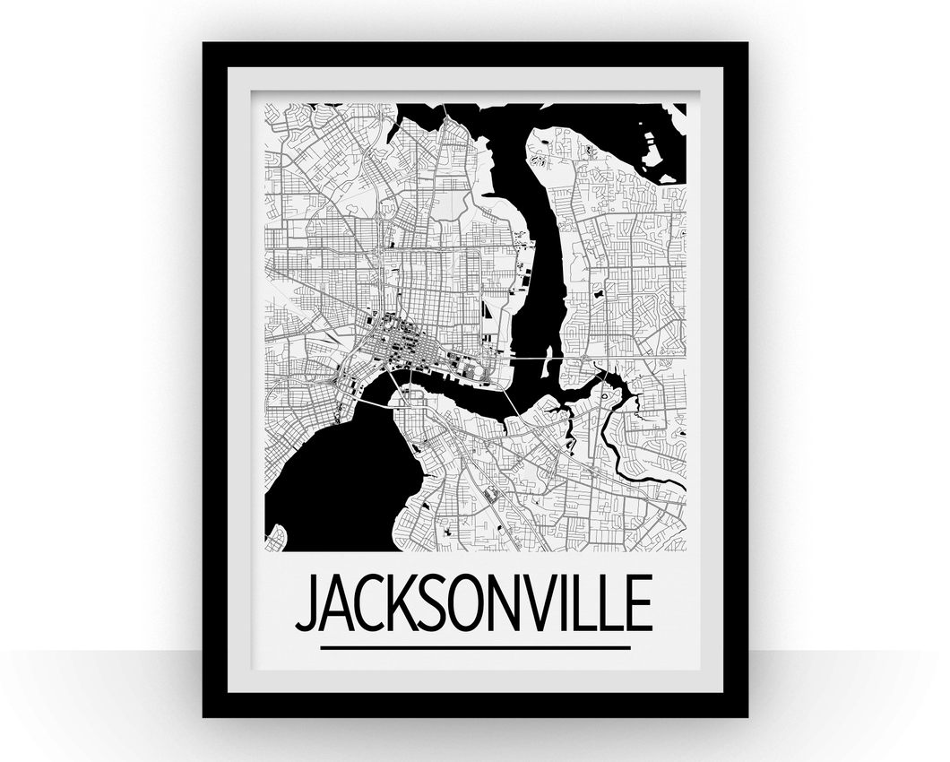 Jacksonville Map Poster - usa Map Print - Art Deco Series