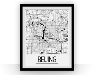 Beijing Map Poster - china Map Print - Art Deco Series