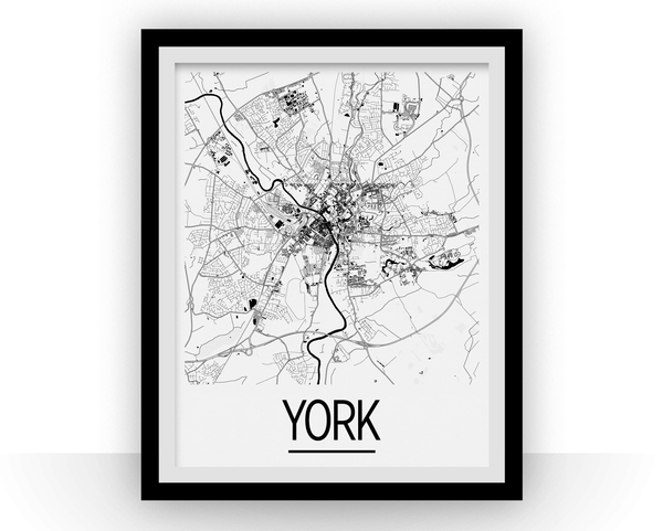 York Map Poster - uk Map Print - Art Deco Series