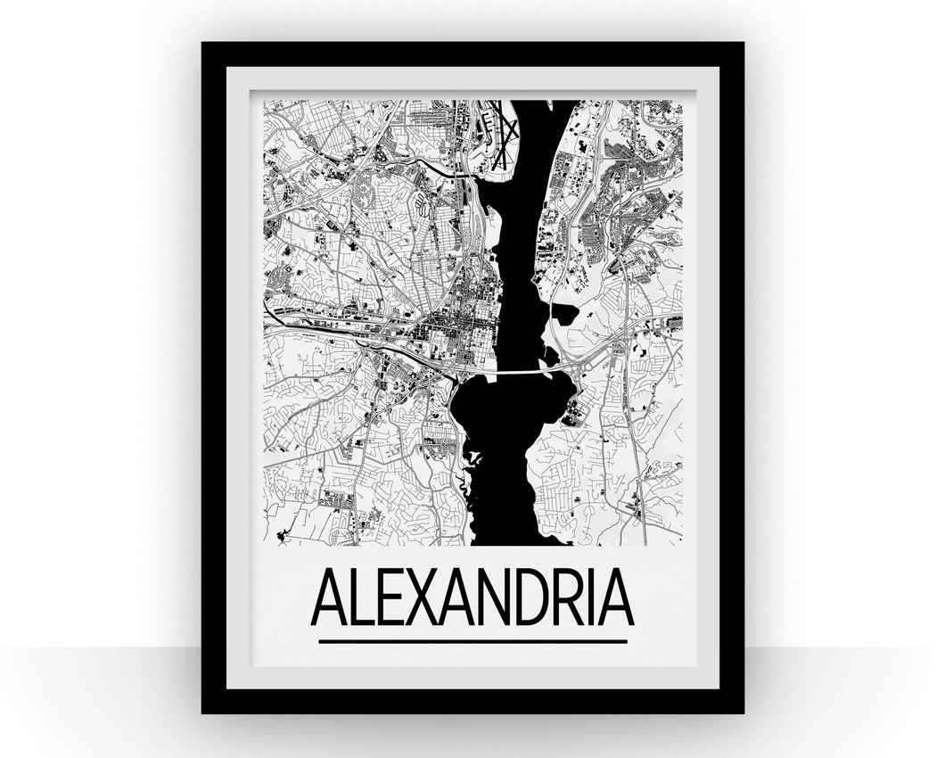 Alexandria VA Map Poster - Virginia Map Print - Art Deco Series