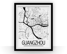 Guangzhou Map Poster - china Map Print - Art Deco Series