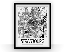 Strasbourg Map Poster - france Map Print - Art Deco Series