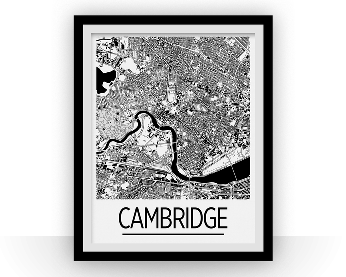 Cambridge MA Map Poster - Massachussetts Map Print - Art Deco Series