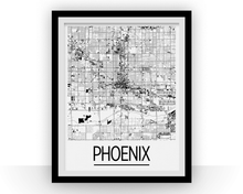 Phoenix Map Poster - usa Map Print - Art Deco Series