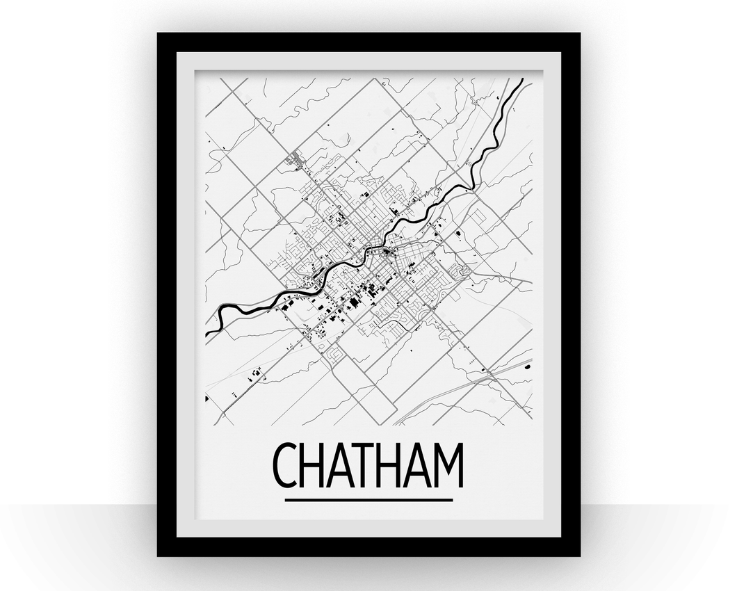 Chatham-Kent Map Poster - Ontario Map Print - Art Deco Series