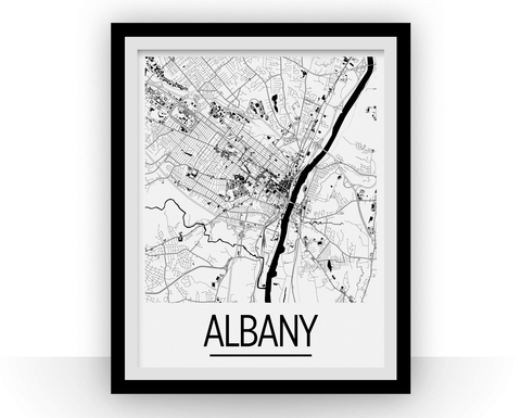 Albany Map Poster - usa Map Print - Art Deco Series