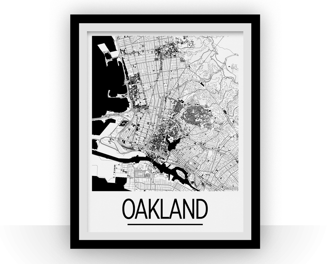 Oakland Map Poster - usa Map Print - Art Deco Series