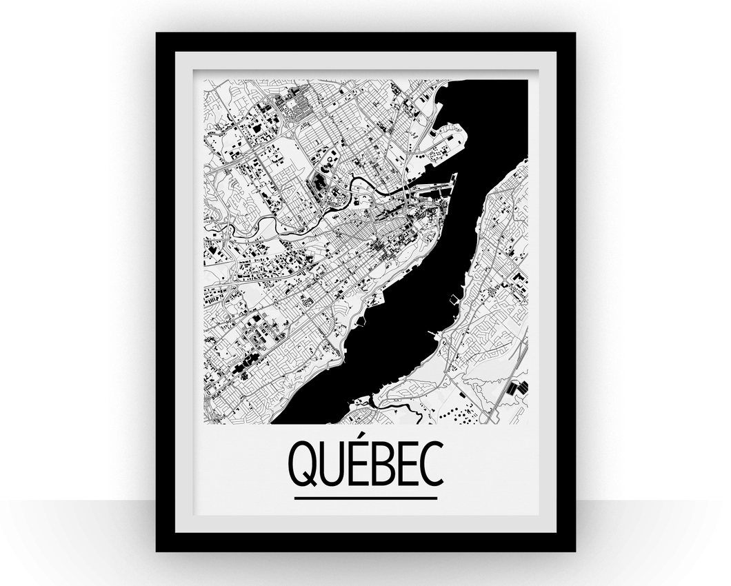 Quebec Map Poster - canada Map Print - Art Deco Series