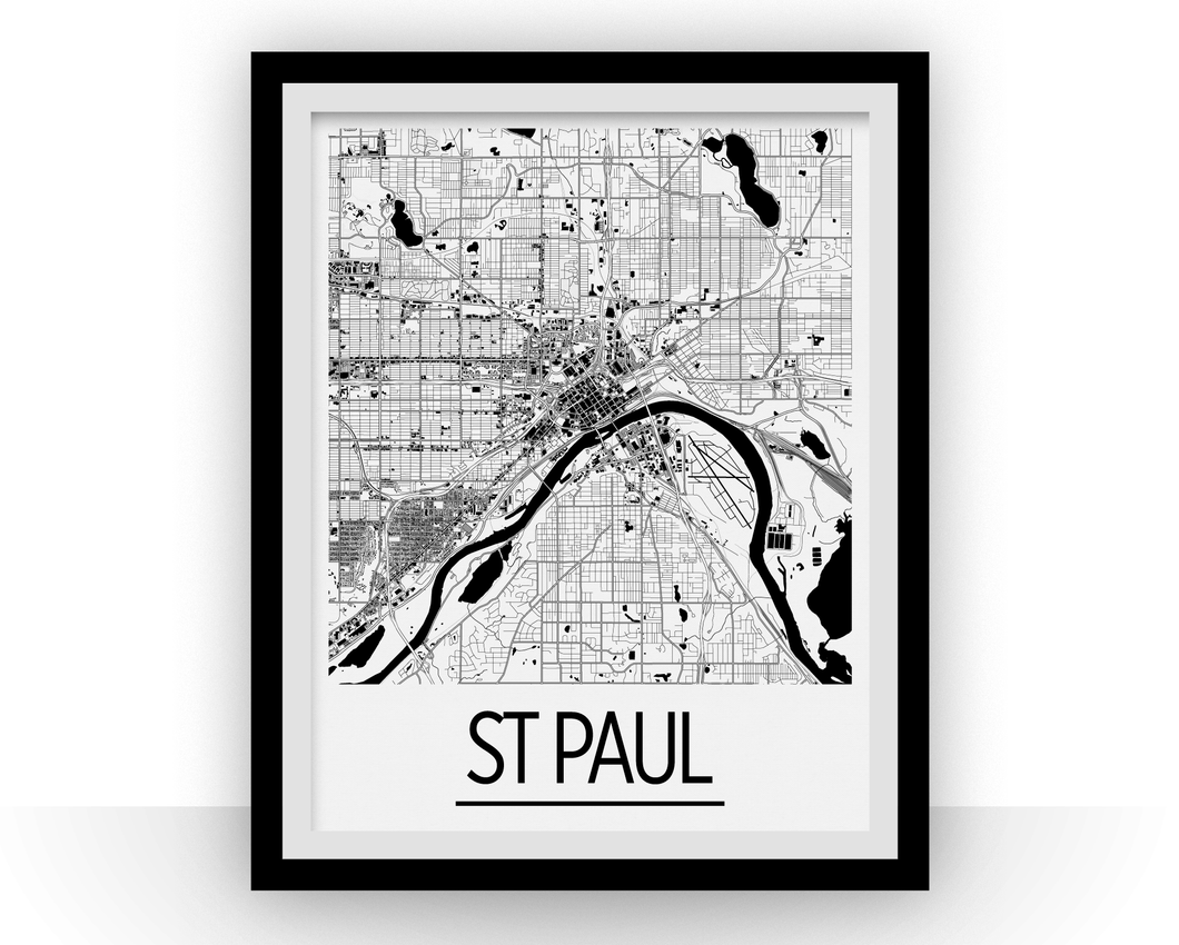 St Paul Map Poster - usa Map Print - Art Deco Series