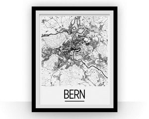 Bern Map Poster - switzerland Map Print - Art Deco Series