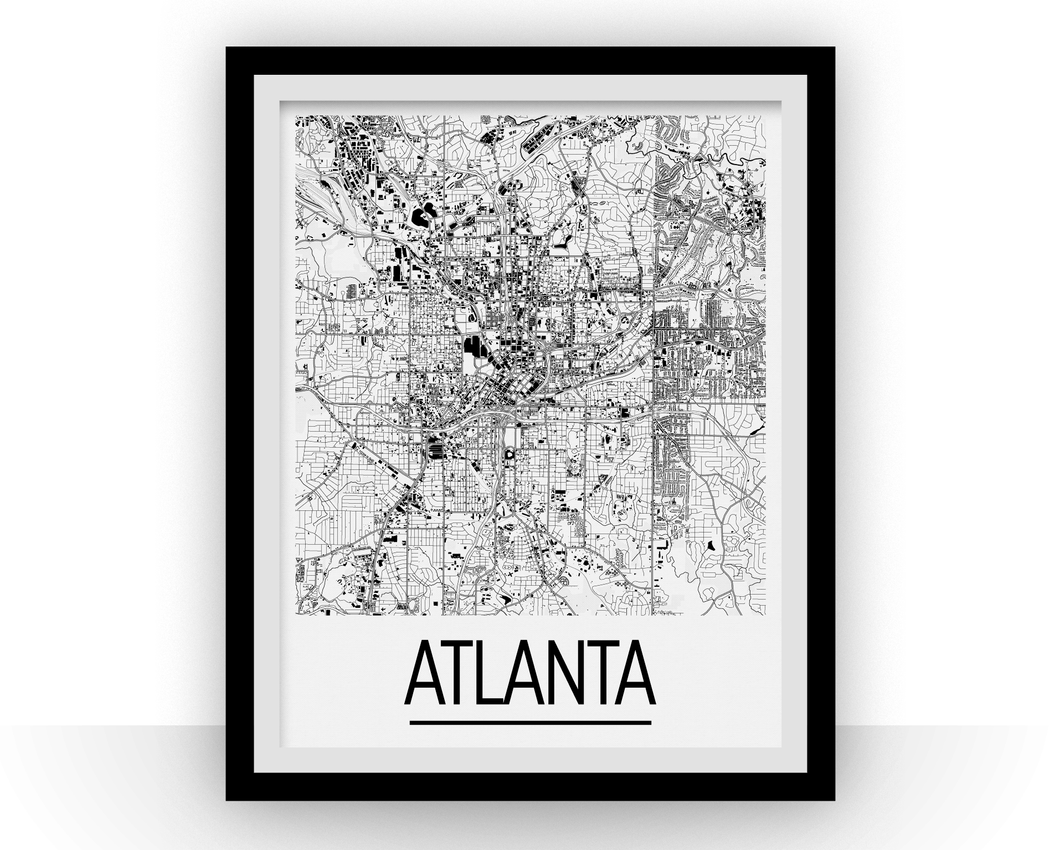 Atlanta Map Poster - usa Map Print - Art Deco Series