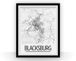 Blacksburg Map Poster - Virginia Map Print - Art Deco Series