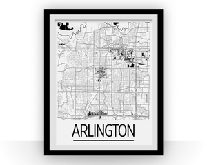Arlington Map Poster - usa Map Print - Art Deco Series