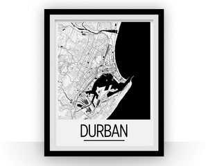 Durban Map Poster - South Africa Map Print - Art Deco Series