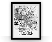 Stockton Map Poster - usa Map Print - Art Deco Series