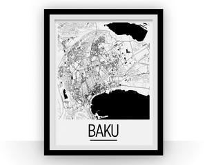 Baku Map Poster - azerbaijan Map Print - Art Deco Series