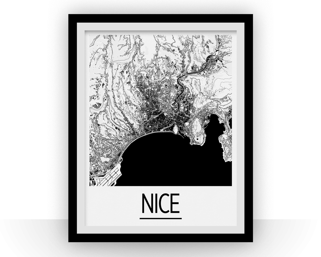 Nice Map Poster - france Map Print - Art Deco Series