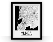 Mumbai Map Poster - india Map Print - Art Deco Series