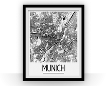 Munich Map Poster - germany Map Print - Art Deco Series