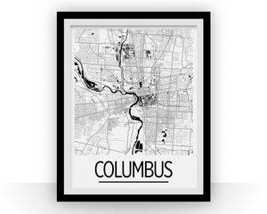 Columbus Map Poster - usa Map Print - Art Deco Series