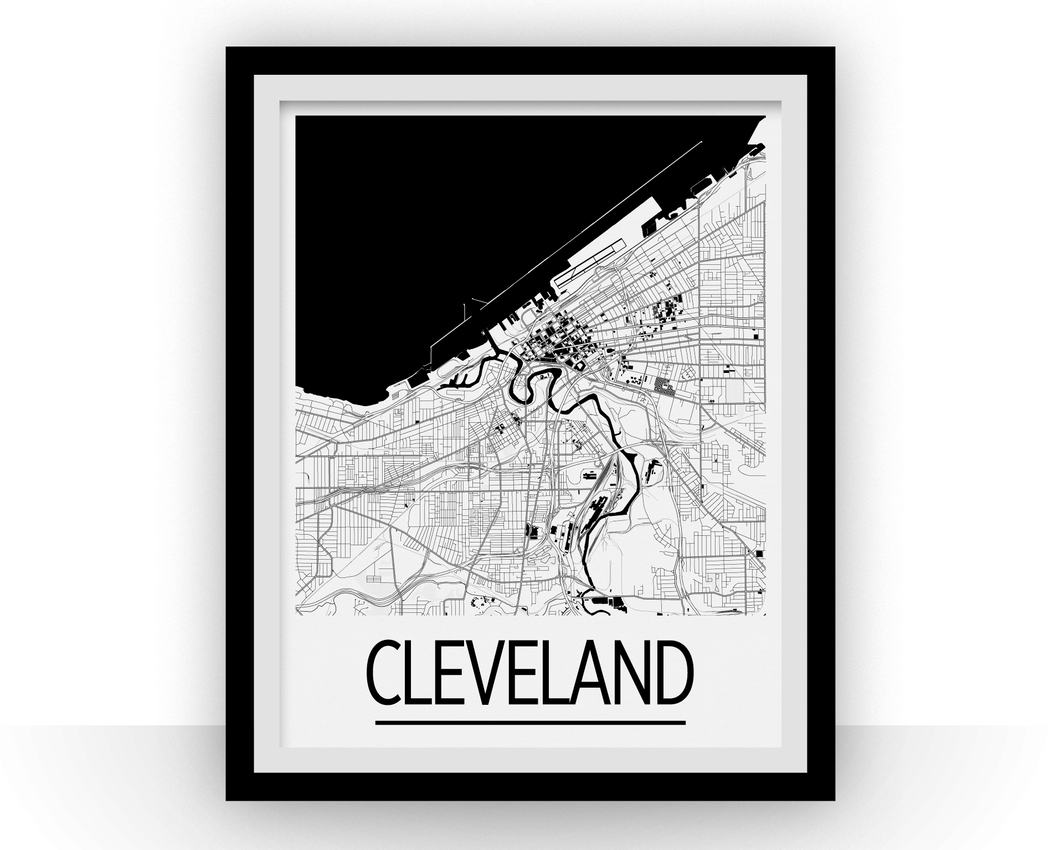 Cleveland Map Poster - usa Map Print - Art Deco Series