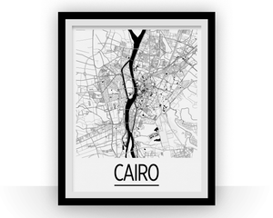 Cairo Map Poster - egypt Map Print - Art Deco Series