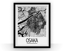 Osaka Map Poster - japan Map Print - Art Deco Series