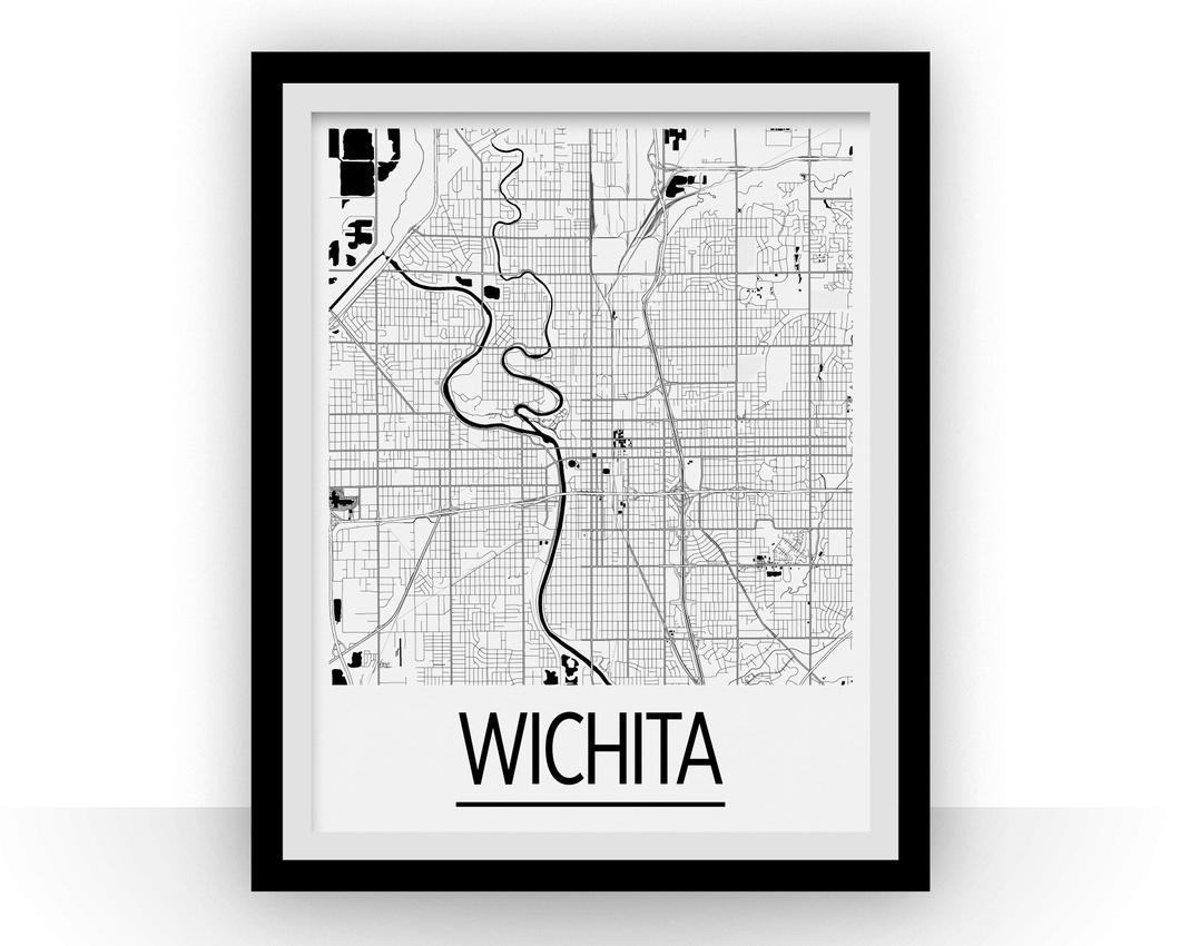 Wichita Map Poster - usa Map Print - Art Deco Series