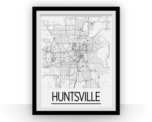 Huntsville Map Poster - usa Map Print - Art Deco Series