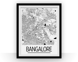 Bangalore Map Poster - india Map Print - Art Deco Series