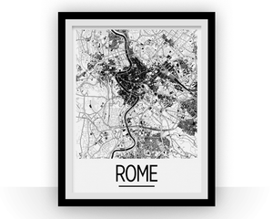 Rome Map Poster - italy Map Print - Art Deco Series