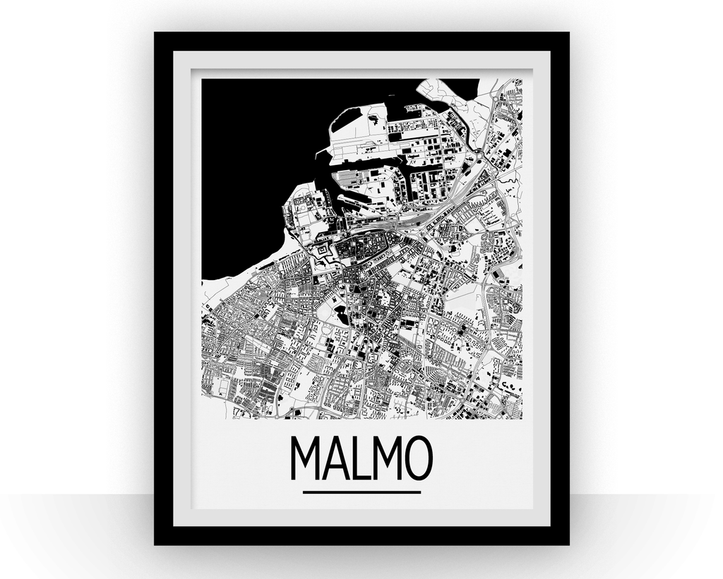 Malmo Map Poster Sweden Map Print Art Deco Series ILikeMaps - Sweden map poster