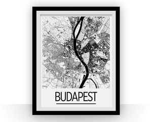 Budapest Map Poster - hungary Map Print - Art Deco Series