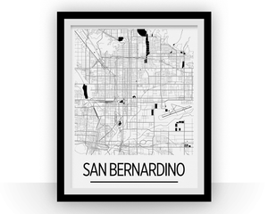 San Bernardino Map Poster - usa Map Print - Art Deco Series
